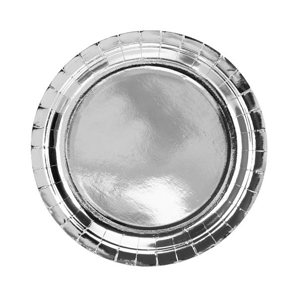 Papír tányér, ezüst, d23cm,  6db/cs