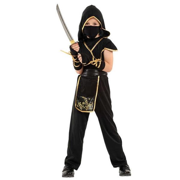 Ninja gyermek jelmez, arany,  M (110-120cm)