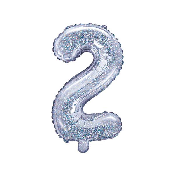 2. szám, fólia lufi, 35 cm, ezüst, hologramos