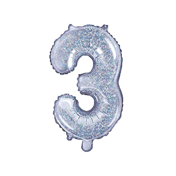3. szám, fólia lufi, 35 cm, ezüst, hologramos
