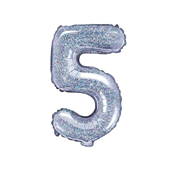 5. szám, fólia lufi, 35 cm, ezüst, hologramos