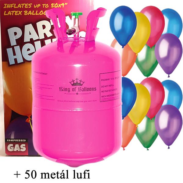 Hélium palack 50 léggömb felfújására + 50 metál léggömb