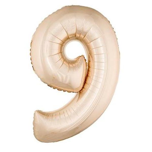 9. szám, fólia lufi, 85 cm, pink-gold