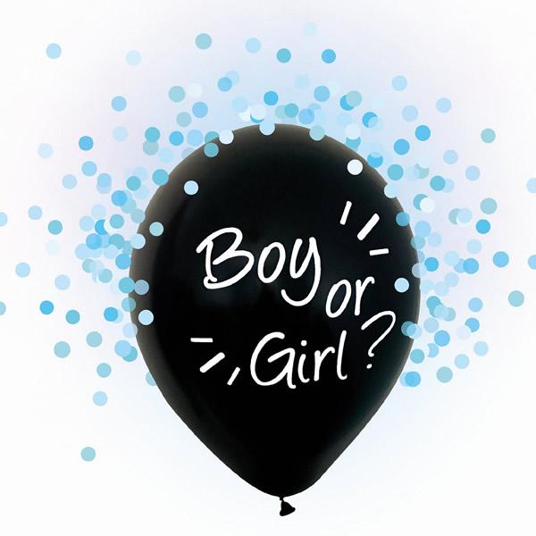 Babaváró latex léggömb, Boy or Girl felirattal,  kék konfettivel, 4db/cs