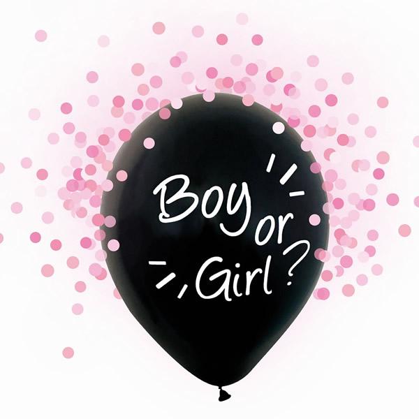 Babaváró latex léggömb, Boy or Girl felirattal,  pink konfettivel, 4db/cs