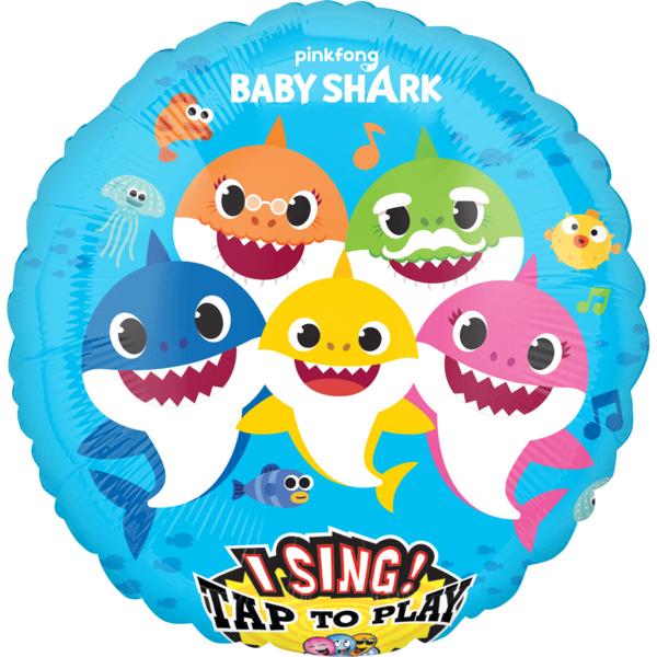 Fólia lufi, zenélő, Baby Shark, 71 cm