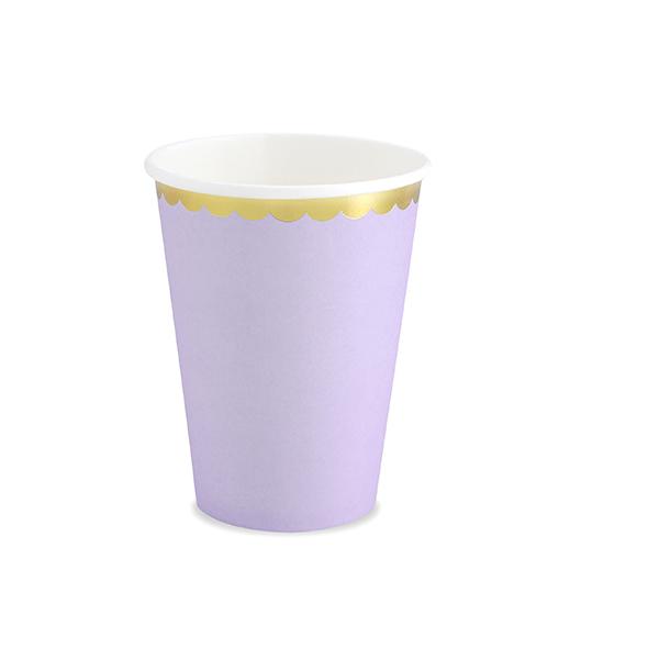 Party pohár, világos lila, arany szegéllyel, 220ml, 6db/cs