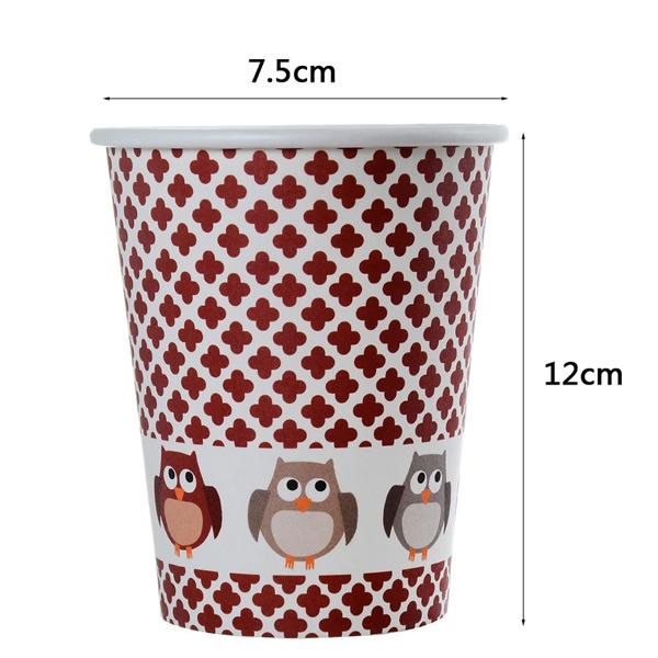 Baglyos papír pohár, 6db/cs