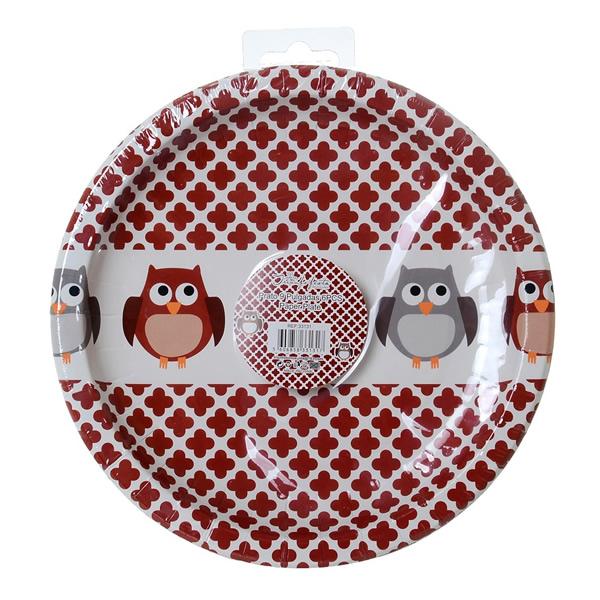 Baglyos papír tányér d22,5 cm, 6db/csomag
