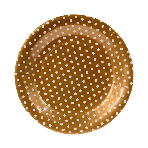 Papír tányér - arany, pöttyös 23 cm, 6 db/cs