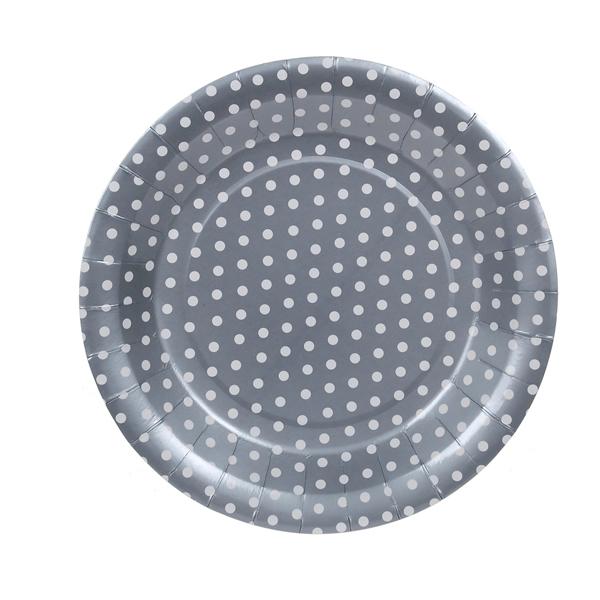 Papír tányér - ezüst, pöttyös 23 cm, 6 db/cs