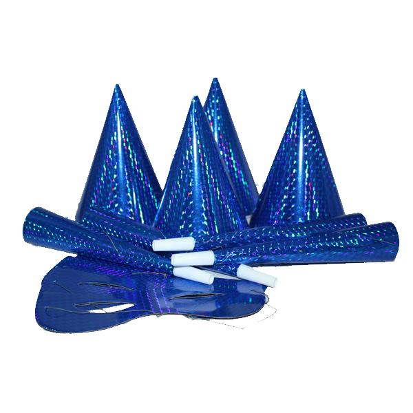 Party szett, 12 db-os, kék, hologramos