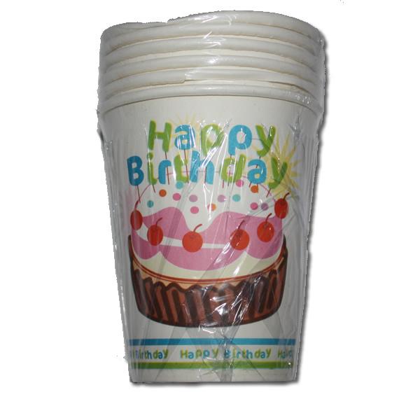 Papír pohár 6 db/cs -  happy birthday muffinos