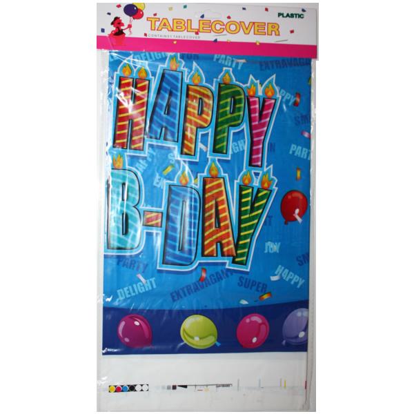 Party asztalterítő, 180*110, happy birthday, kék