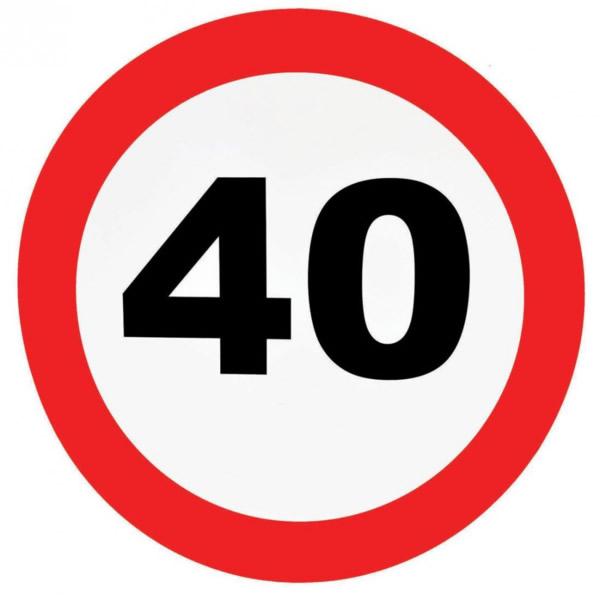 Fali dekor, behajtani tilos tábla, 40. születésnapra