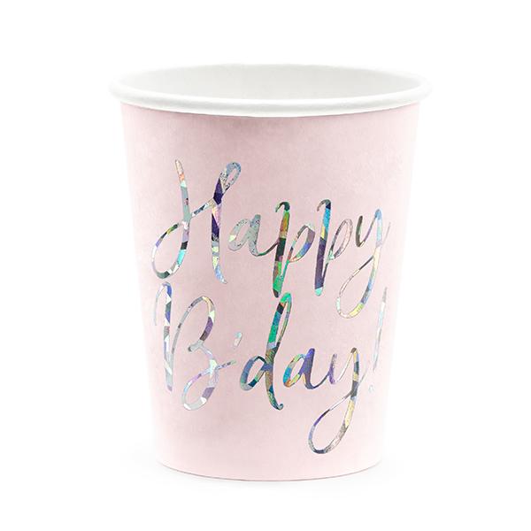 Party pohár, púder pink, happy b'day felirattal, 6 db, 220 ml