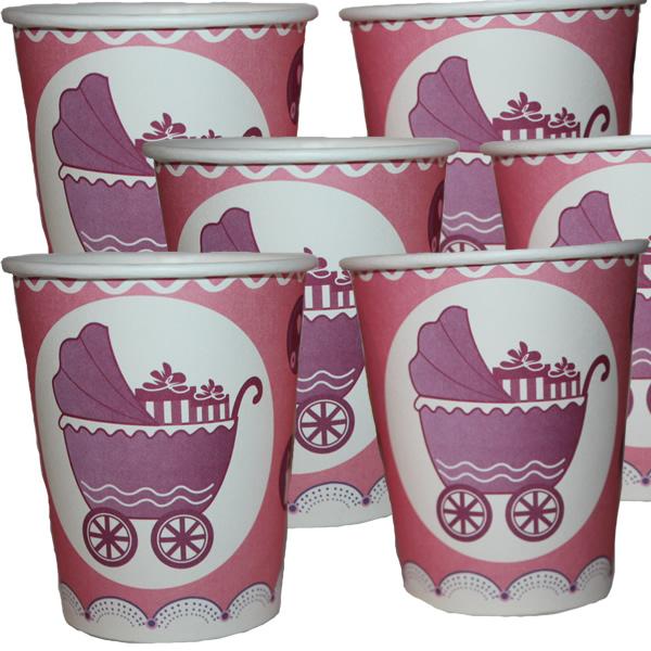 Papír pohár 10 db/cs - rózsaszín babakocsi