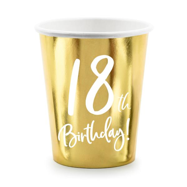 Party pohár, 18-as számmal, arany,  6db/cs, 220 ml