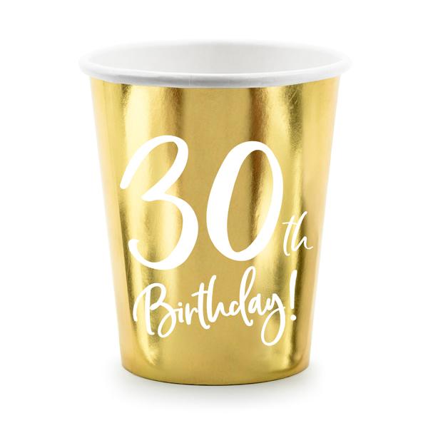 Party pohár, 30-as számmal, arany,  6db/cs, 220 ml