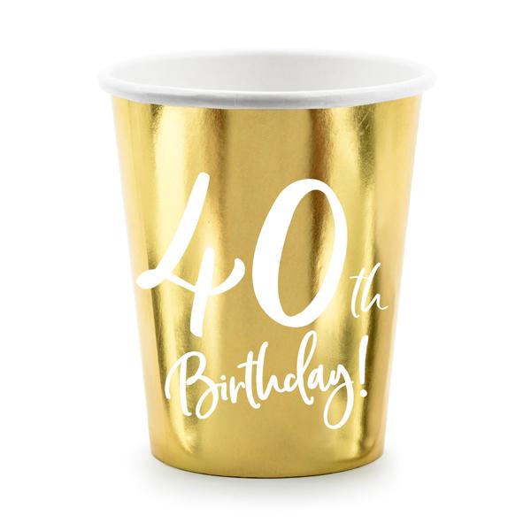 Party pohár, 40-es számmal, arany,  6db/cs, 220 ml