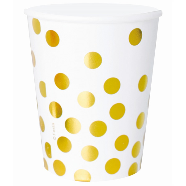 Papír pohár - arany, pöttyös, 270ml, 6 db/cs