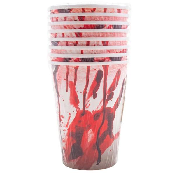 Halloween parti pohár, véres kéz, 2.5dl, 8 db/csomag