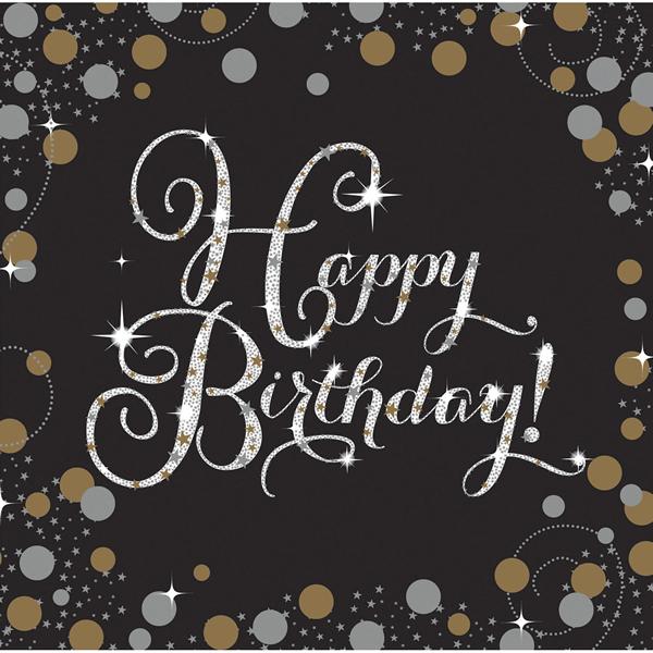 Fekete-arany szalvéta, happy birthday, 16 db, 33x33 cm