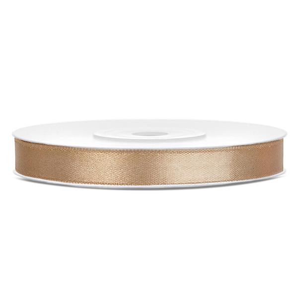 Dekor szaténszalag, halvány arany, 6mm/25m