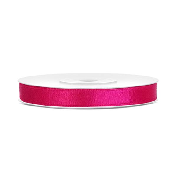 Dekor szaténszalag, sötét pink, 6mm/25m