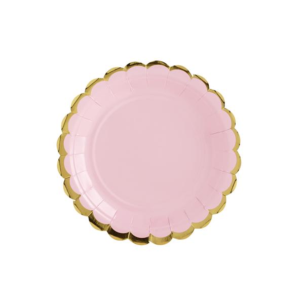 Papír tányér, világos pink, arany szegéllyel, 18 cm