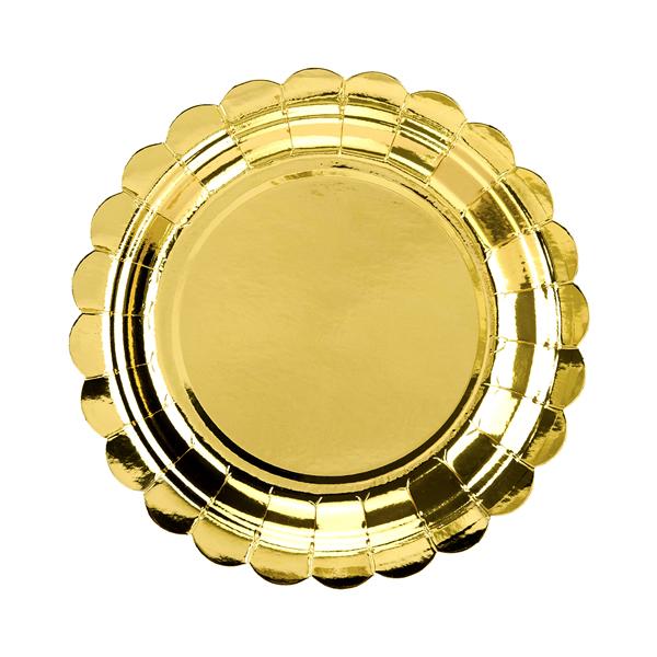 Papír tányér, arany, d18cm,  6db/cs