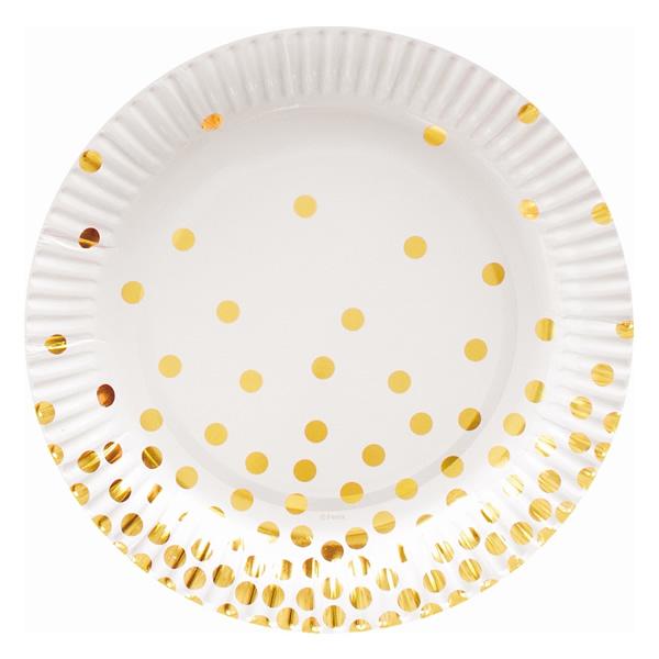 Papír tányér arany pöttyös, 18cm, 6 db/cs