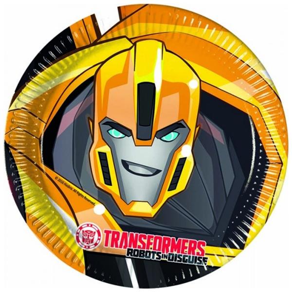 Papír tányér, Transformers, 23cm, 8db/cs