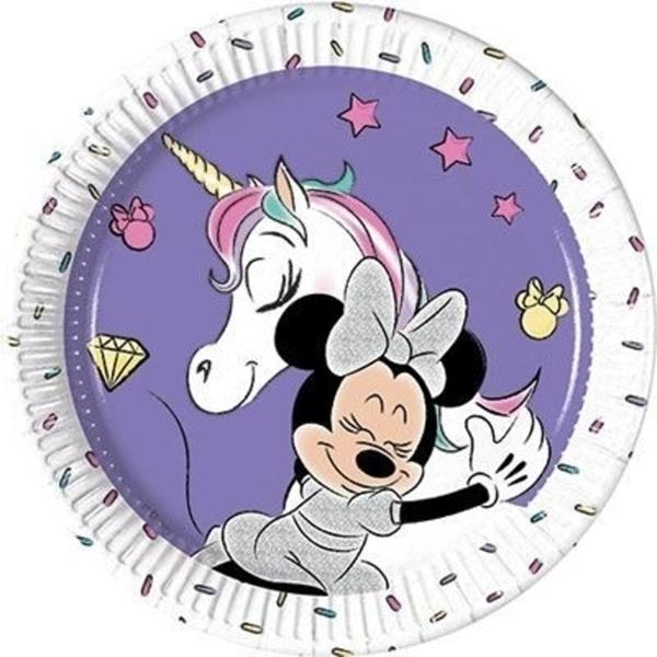 Papír tányér, Minnie+unikornis, 19,5cm, 8db/cs